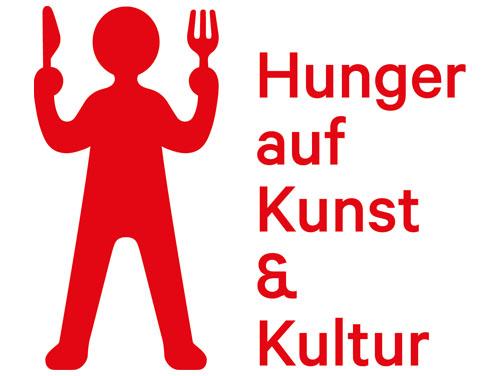 """Logo von Hunger auf Kunst und Kultur: Ein rotes Männchen mit erhobenen Händen, die Messer und Gabel nach oben halten und der Text """"Hunger auf Kunst und Kultur"""" rechts daneben."""