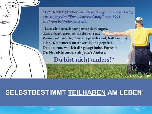 """Ausschnitt des Plakats der Veranstaltung mit Spruch aus dem Film Forest Gump und dem Inhalt """"Selbstbestimmt Teilhaben am Leben""""."""