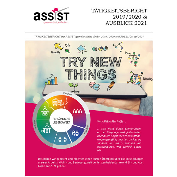 """Cover des Tätigkeitsberichts mit Symbolbild und Logo und dem Titel """"Try new things"""""""