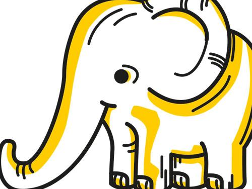 Zeichnung eines Babyelefanten (als Symbol für die Abstandhaltung)