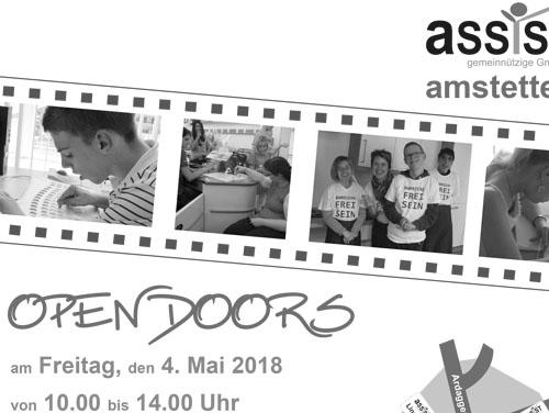 """Ausschnitt des Plakats der Veranstlaltung: Bildstreifen mit Fotos von Kunden und Kundinnen bei der Arbeit, Logo, Titel """"Open Doors"""", Datum und Uhrzeit."""