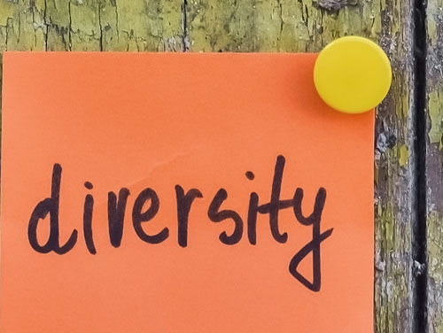 """Symbolbild: Post-it-Zettel mit der Aufschrfit """"diversity"""""""