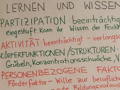 """Ausschnitt eines Plakats mit den Worten """"Lernen und Wissen, Partizipation, Aktivität, Körperfunktion und -strukturen, Personenbezogene Faktoren, ..."""""""