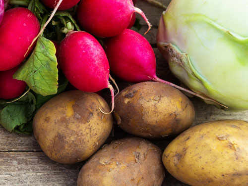 Symbolbild für gesunde Ernährung: Ein Bund Radieschen, 1 Kolerabi, 4 Kartoffeln.