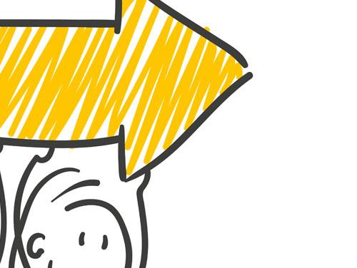 Zeichnung von Person, die großen Pfeil über den Kopf trägt.