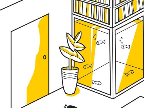 Zeichnung eines Raumes mit großem Fischaquarium darin, BÜchern, einer Zimmerpflanze und einer Eingangstür.