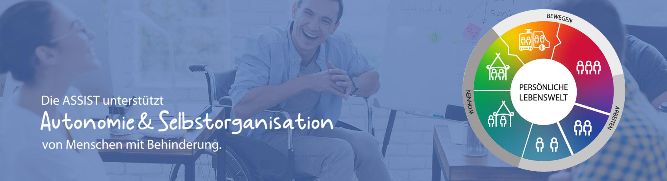 2 Männer (davon einer im Rollstuhl) und 1 Frau unterhalten sich. Text: Die Assist unterstützt Autonomie & Selbstorganisaiton von Menschen mit Behinderung. Grafik: Kreis, in dem in Regenbogenfarben alle 6 Geschäftsfelder der ASSIST dargestellt werden.